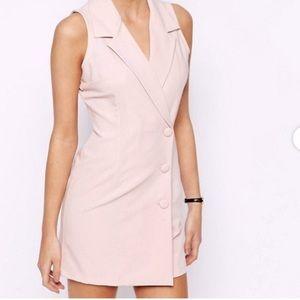 NWT ASOS Love Blush Nude Pink Tuxedo Dress. US 4